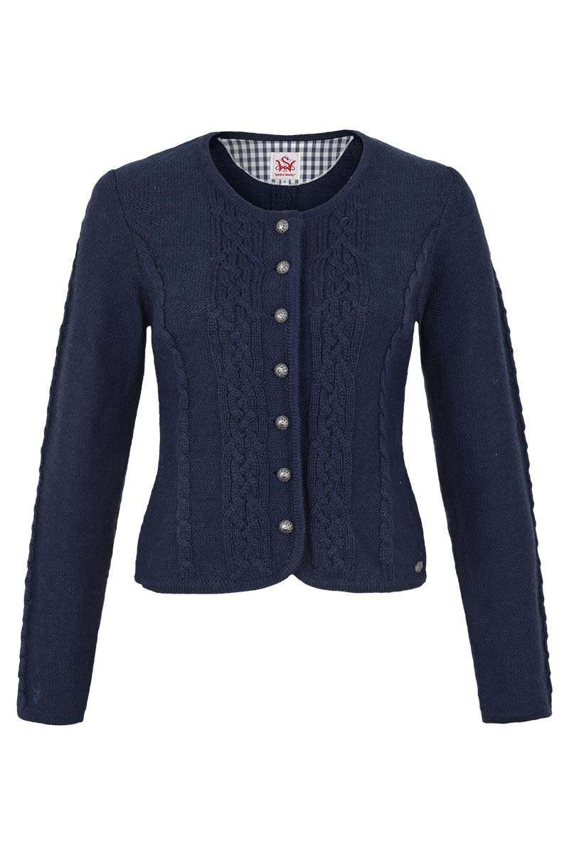 blaue strickjacke damen